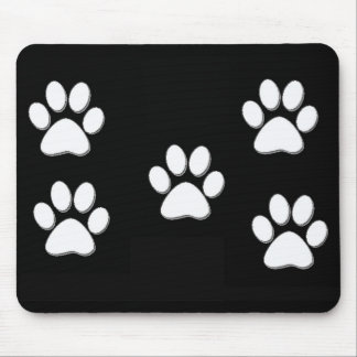 Puppy Paw Prints White on Black Mouse Pad