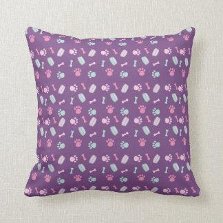 Puppy Paws Bowls Bones Pink Purple Blue Pastel Throw Pillow