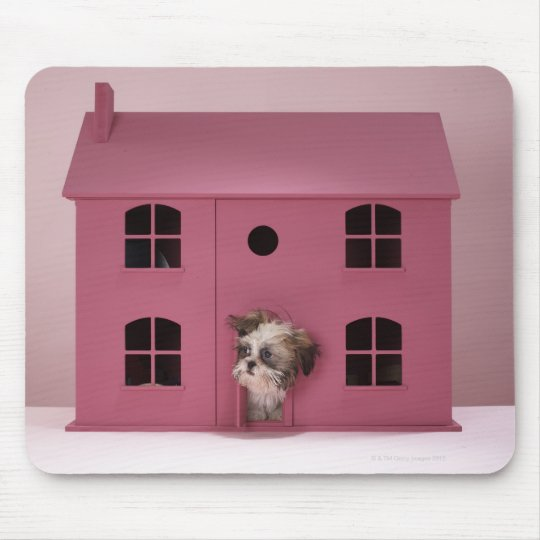 Puppy peering out of doll's house mouse pad