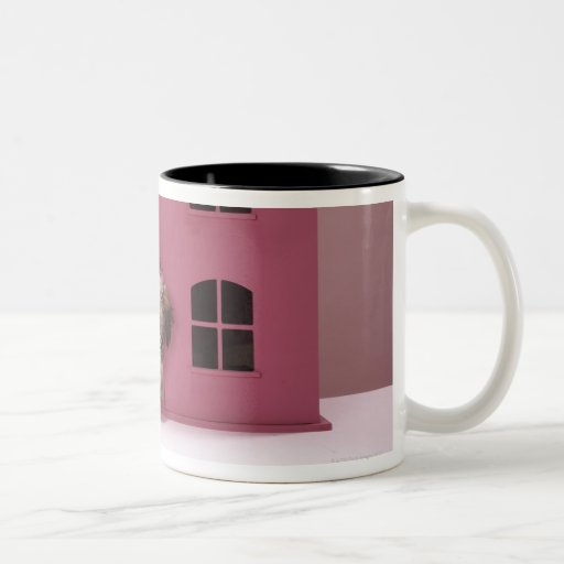 Puppy peering out of doll's house Two-Tone coffee mug