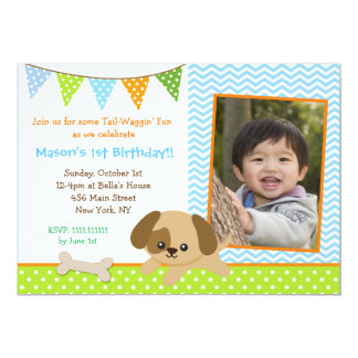 Puppy Photo Birthday Party Invitations for boys