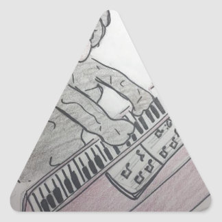 puppy piano triangle sticker