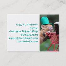 Puppy pig shopping cart business card