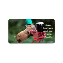 Puppy pig shopping cart label