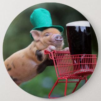 Puppy pig shopping cart pinback button