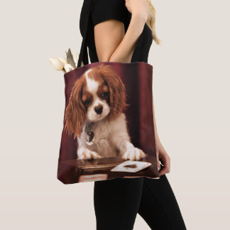 Puppy Plays Cards Tote Bag