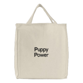 Puppy Power Embroidered Tote Bags