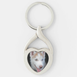 Puppy preschool Silver-Colored Heart-Shaped metal keychain