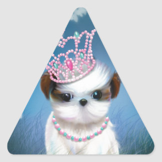 Puppy Princess Triangle Sticker