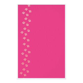 Puppy Prints in Pink Stationery