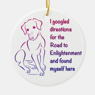 Puppy Road to Enlightenment Double-Sided Ceramic Round Christmas Ornament