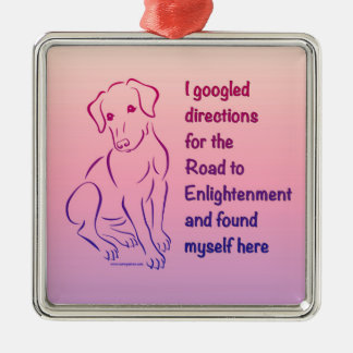 Puppy Road to Enlightenment Square Metal Christmas Ornament