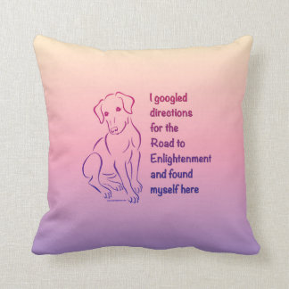 Puppy Road to Enlightenment Throw Pillow