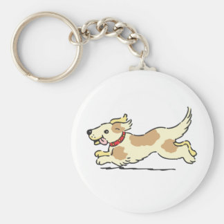 Puppy running with toungue out keychain