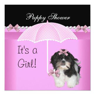 Puppy Shower Cute Dog Pink 5.25x5.25 Square Paper Invitation Card