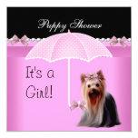 Puppy Shower Cute Dog Pink Yorkie 2 Card
