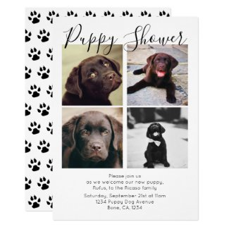 Puppy Shower Cute Personalized Dog Adoption Invitation