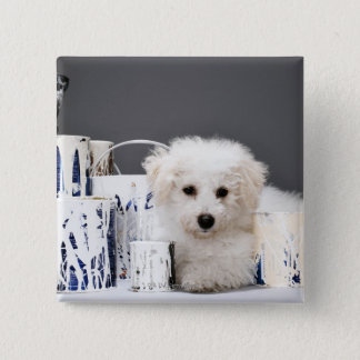 Puppy sitting amongst paint tins button