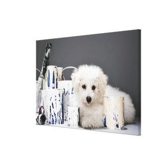 Puppy sitting amongst paint tins canvas print