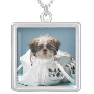 Puppy sitting in handbag silver plated necklace