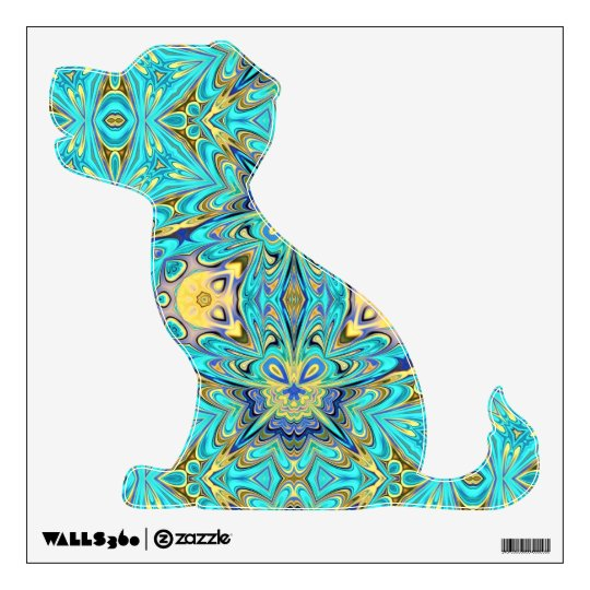 puppy sitting wall decal with kaleidoscope pattern