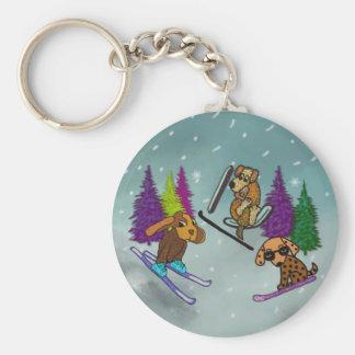 Puppy Ski Vacation Basic Round Button Keychain