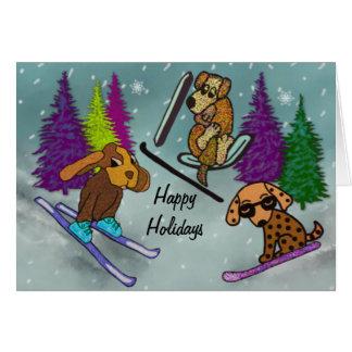 Puppy Ski Vacation Happy Holidays Card