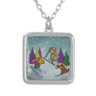 Puppy Ski Vacation Square Pendant Necklace