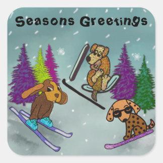 Puppy Ski Vacation Seasons Greetings Square Sticker