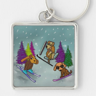 Puppy Ski Vacation Silver-Colored Square Keychain