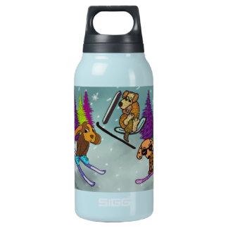 Puppy Ski Vacation Thermos Water Bottle