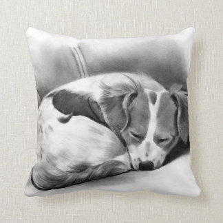Puppy, Sleeping, Curled Up Original Pencil Drawing Throw Pillow