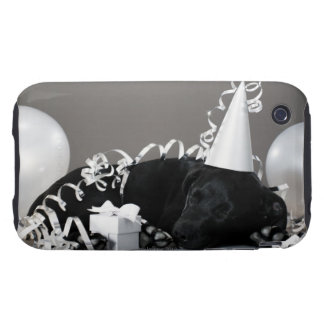 Puppy sleeping in party decorations tough iPhone 3 case