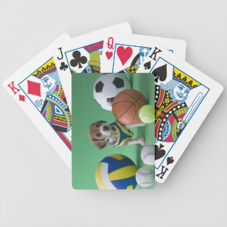Puppy surrounded by sport balls bicycle playing cards
