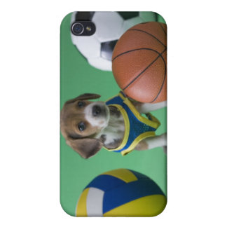 Puppy surrounded by sport balls case for iPhone 4