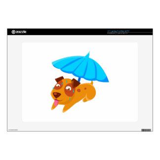 """Puppy Sweating Under Umbrella On The Beach 15"""" Laptop Skin"""