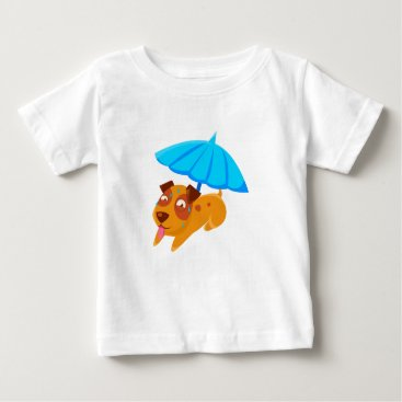 Beach Themed Puppy Sweating Under Umbrella On The Beach Baby T-Shirt