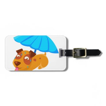 Beach Themed Puppy Sweating Under Umbrella On The Beach Bag Tag