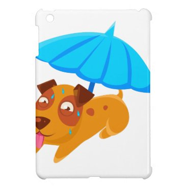 Beach Themed Puppy Sweating Under Umbrella On The Beach Case For The iPad Mini