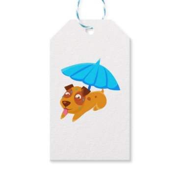 Beach Themed Puppy Sweating Under Umbrella On The Beach Gift Tags