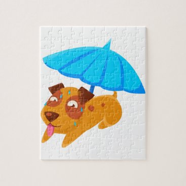 Beach Themed Puppy Sweating Under Umbrella On The Beach Jigsaw Puzzle