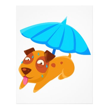 Beach Themed Puppy Sweating Under Umbrella On The Beach Letterhead