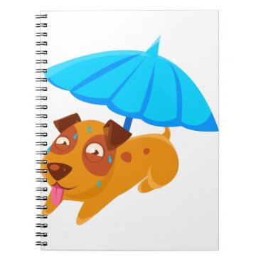 Beach Themed Puppy Sweating Under Umbrella On The Beach Notebook
