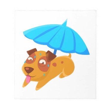 Beach Themed Puppy Sweating Under Umbrella On The Beach Notepad