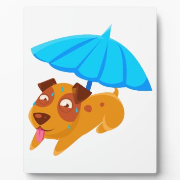 Beach Themed Puppy Sweating Under Umbrella On The Beach Plaque