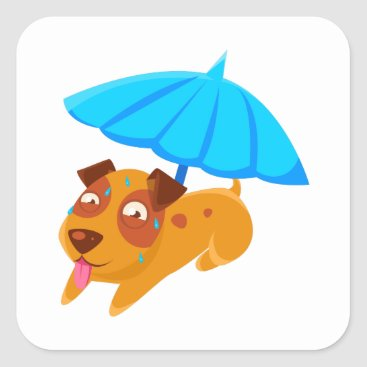 Beach Themed Puppy Sweating Under Umbrella On The Beach Square Sticker