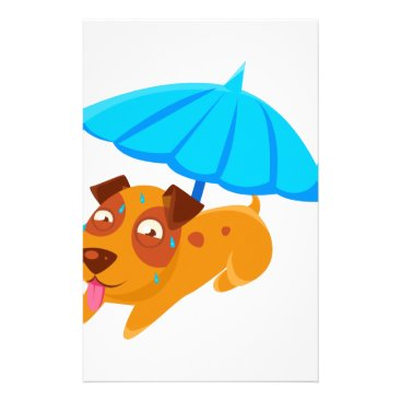 Beach Themed Puppy Sweating Under Umbrella On The Beach Stationery