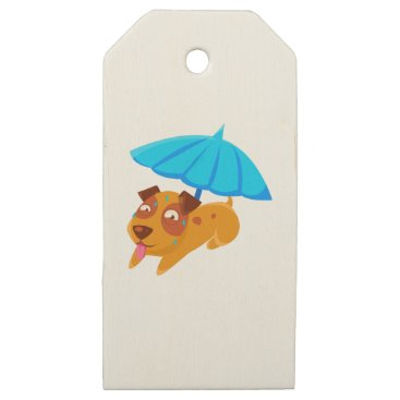 Beach Themed Puppy Sweating Under Umbrella On The Beach Wooden Gift Tags