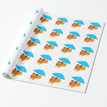 Beach Themed Puppy Sweating Under Umbrella On The Beach Wrapping Paper