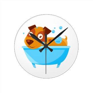 Puppy Taking A Bubble Bath In  Tub Round Clock